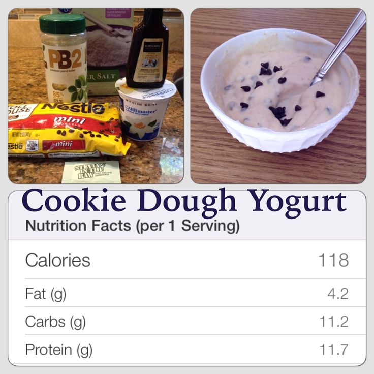 Cookie Dough Yogurt that is amazing and Low Carb, Low Fat, Low Calorie and a good source of Protein! #lowcarb #kroger #pb2 #lowfat #yogurt #cookiedoughyogurt  •1 cup of Carbmaster vanilla yogurt that you an buy exclusively at Kroger/ FoodforLess •1/4 teaspoon of vanilla extract •pinch of sea salt •1/3 of a single packet of Stevia in the Raw (or your preferred low calorie sweetener) •1 tablespoon of PB2 powder •1/2 tablespoon of Nestle Mini semi sweet chips (add more to your desired…