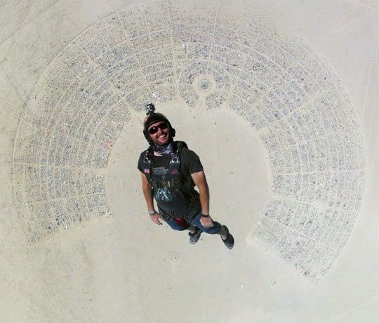Funny Burning Man Memes Of 2017 On Sizzle: Fantastic Shot Of Man Skydiving Into Burning Man…