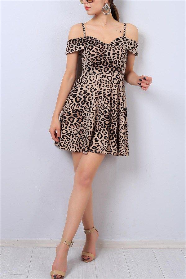 19 95 Tl Leopar Desenli Askili Bayan Elbise 14318b Modamizbir Elbise Yazlik Kiyafetler Mankenler