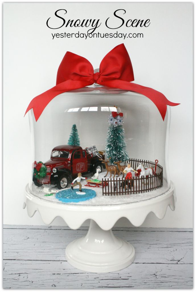 DIY Cake plate holiday scene display ~ fun to create Christmas decorating idea!  sc 1 st  Pinterest & 1910 best tiny houses paper house Putz houses images on Pinterest ...