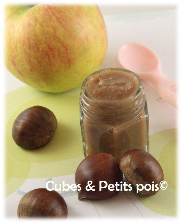 Recette pour bébé de compote de châtaignes - http://www.cubesetpetitspois.fr/bebe-recette-compote-pomme-chataignes/