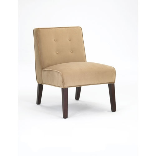 Tan Transitional Armless Chair with Durable Mircofiber Cover