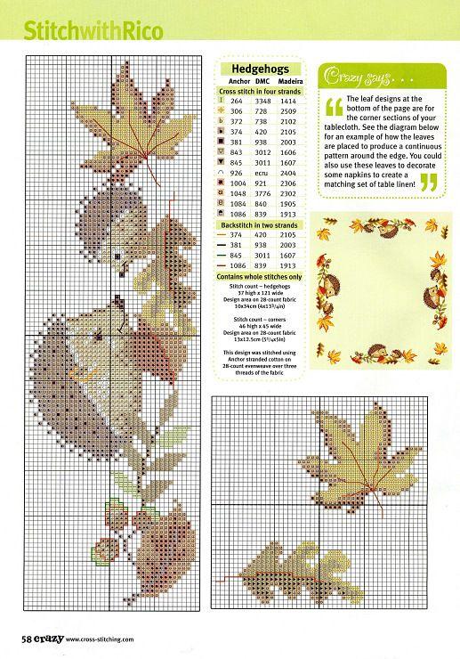 autumn hedgehogs cross stitch