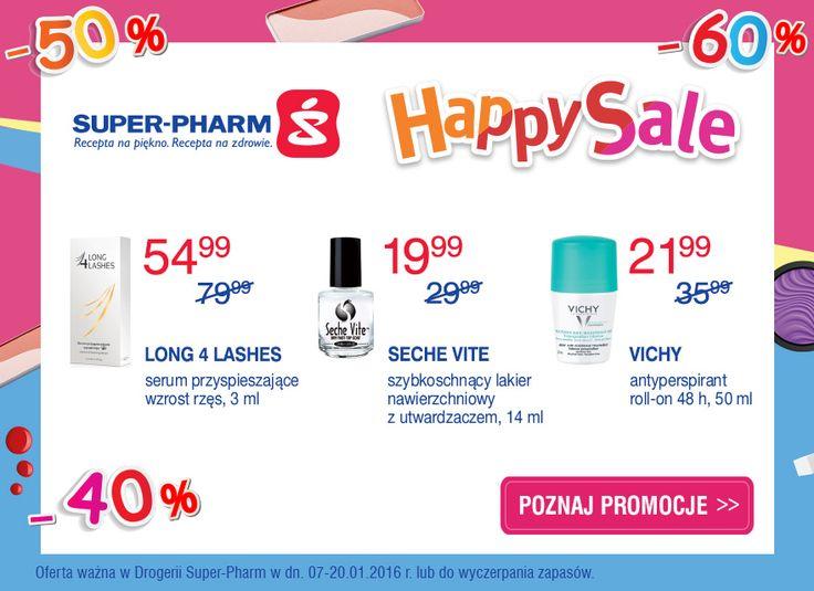 HAPPY SALE do -60% w drogerii Super-Pharm! Tylko do 20.01 ulubione produkty kosmetyczne w wyjątkowych promocjach cenowych, aż do -60%! Szczegóły: www.superpharm.pl/gazetka Gorąco zapraszamy!