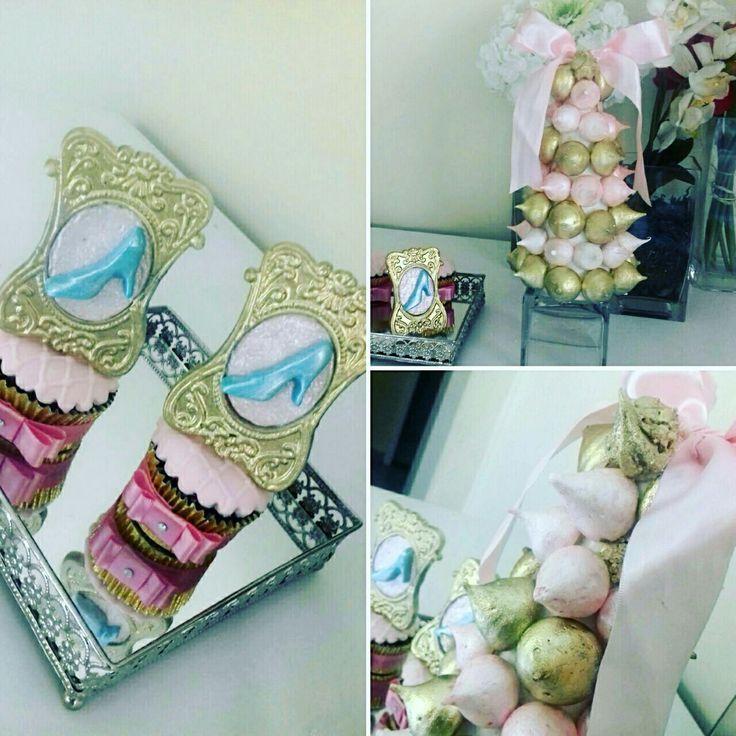 Cinderela party Cinderela doces sweet Gold dourado molduras cupcakes torre de suspiros!!