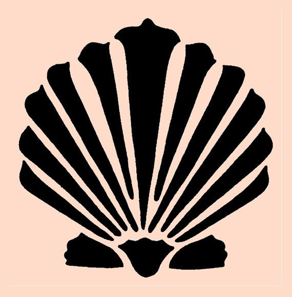 STENCIL Clam shell Seashell 5x5 by ArtisticStencils on Etsy