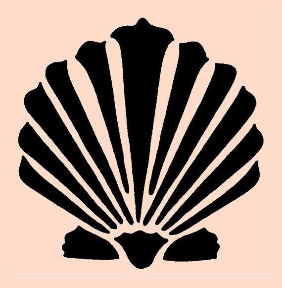 STENCIL Clamshell Seashell 10x7.8