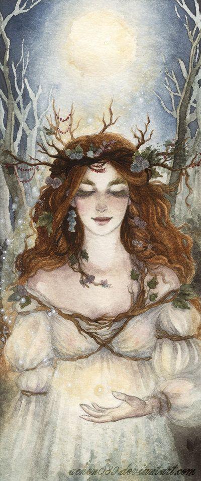The Maiden Goddess at Imbolc. Fireflies by Achen089.deviantart.com on @deviantART