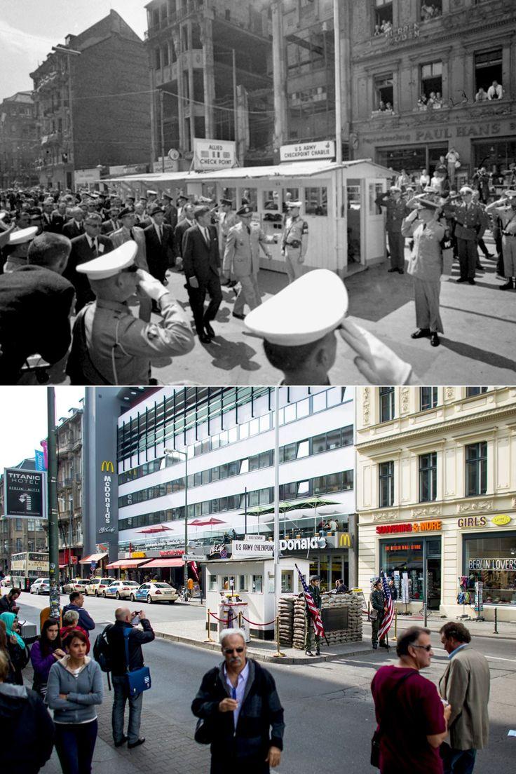 Orte der Berliner Mauer, damals und heute                                                                                                                                                                                 Plus