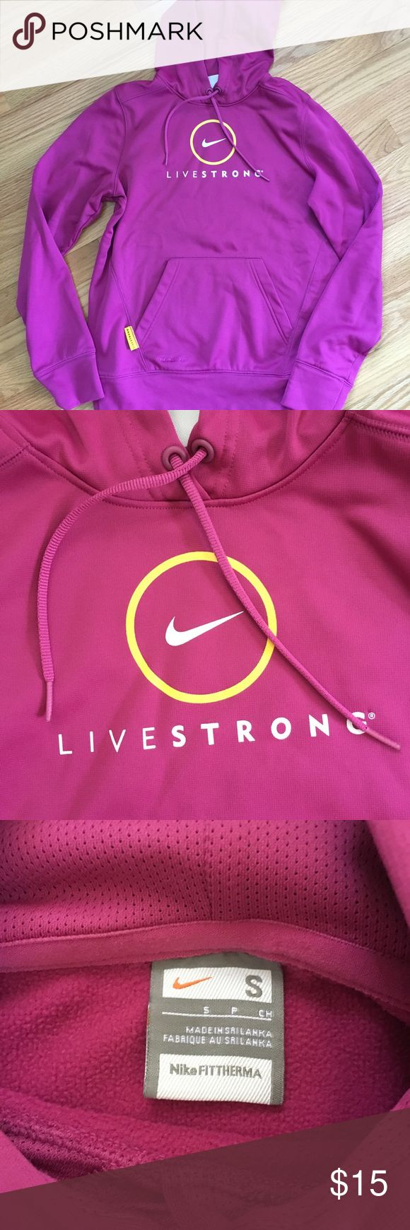 NWOT Nike Livestrong Pink Hoodie - Small NWOT Nike Livestrong Pink Hoodie - Small. Therma-Fit technology. Never been worn. Perfect for going back and forth to the gym Nike Tops Sweatshirts & Hoodies