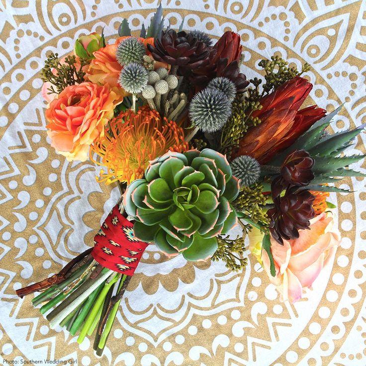 "Plastic Open Needle Protea Flower in Orange Yellow<br>4"" Bloom x 26"" Tall"