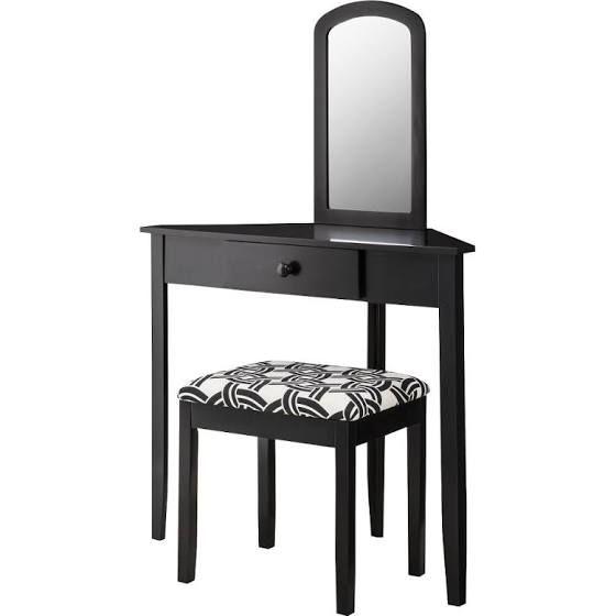 corner makeup vanity table