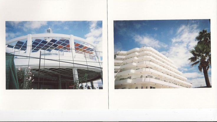snake skin . jacket Analogue photograph of modernist, clean beach, seaside buildings in Las Americas, Tenerife, Spain.