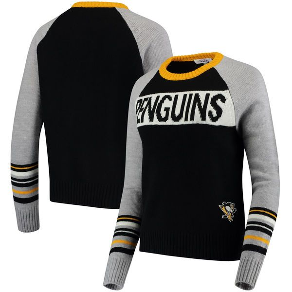 Women's Pittsburgh Penguins Touch by Alyssa Milano Black Team Spirit Raglan Sweater 1