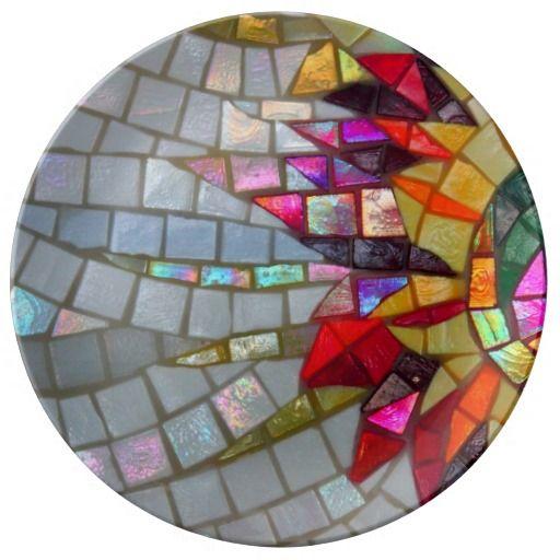 Floral Mosaic Porcelain Plate - JUSTART on Zazzle  #justart #zazzle #plate #home #shiny #mosaic #silver #red #purple #pink #yellow #orange #green
