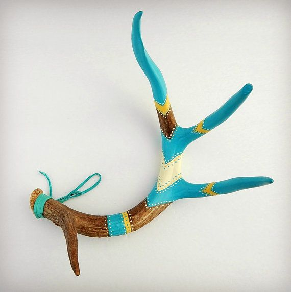 Painted Antler . Rustic Home Decor . Nature Art . Woodland Wilderness . Cabin Lodge . Natural Deer Antler    A naturally shed deer antler