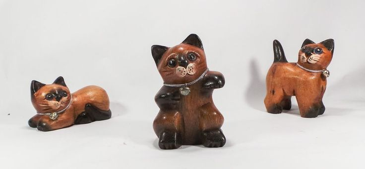 Nice Hand Carved Wooden Cat Sculpture 3 Pcs. in a Set