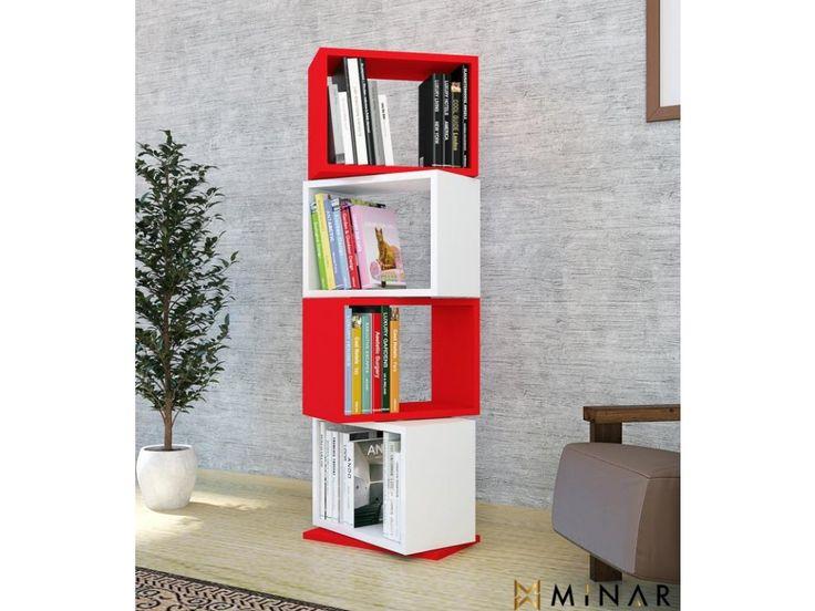 <p>Stylový doplněk v kombinaci červené a bílé se hodí kamkoliv si vzpomenete. Nejvíce knihovně ANZE svědčí otevřený prostor, aby vynikly čisté geometrické linie. Všechny její součásti jsou otočné, můžete si tak knihovnu přízpůsobit podle libosti.</p>
