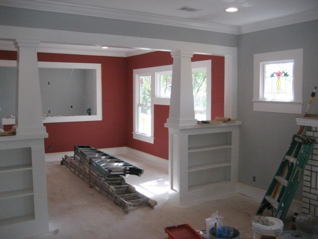 Hardwood floors grey walls red walls living room for Grey kitchen cabinets with red walls