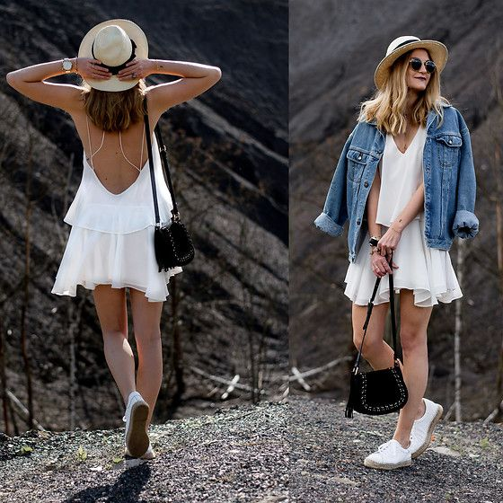 Get this look: http://lb.nu/look/8732511  More looks by Catherine V.: http://lb.nu/fashionardenter  Items in this look:  H&M Hat, Lee Oversized Vintage Denim Jacket, Magali Pascal Dress, Mango Bag, Sacha Sneakerdrilles   #bohemian #minimal #romantic #festival