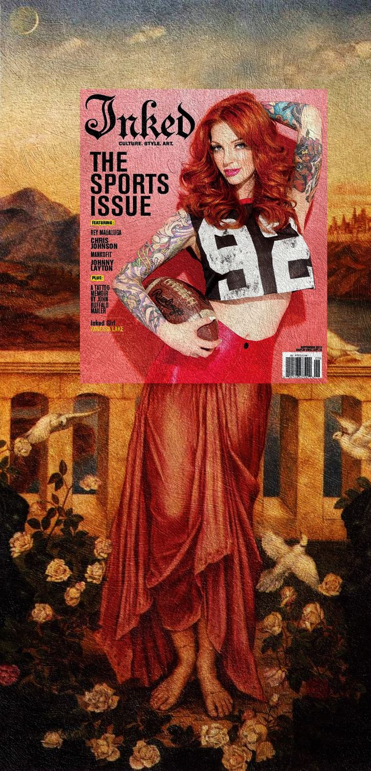 Inked Helen Vanessa Lake - The Sports Issue, Inked Magazine September 2013 + Helen of Troy by Evelyn De Morgan