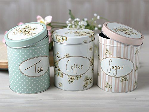 Tea, Coffee, Sugar Set of 3 Kitchen Storage Canisters - Shabby Chic. Visit us now and ENJOY 10% OFF + FREE SHIPPING on all orders