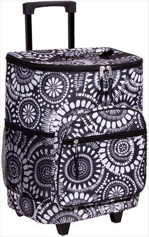Attractive Black and White Insulated Rolling Cooler Bag with Telescoping Handle 16inch 21quart Wheeled Cooler * For more information, visit image link.