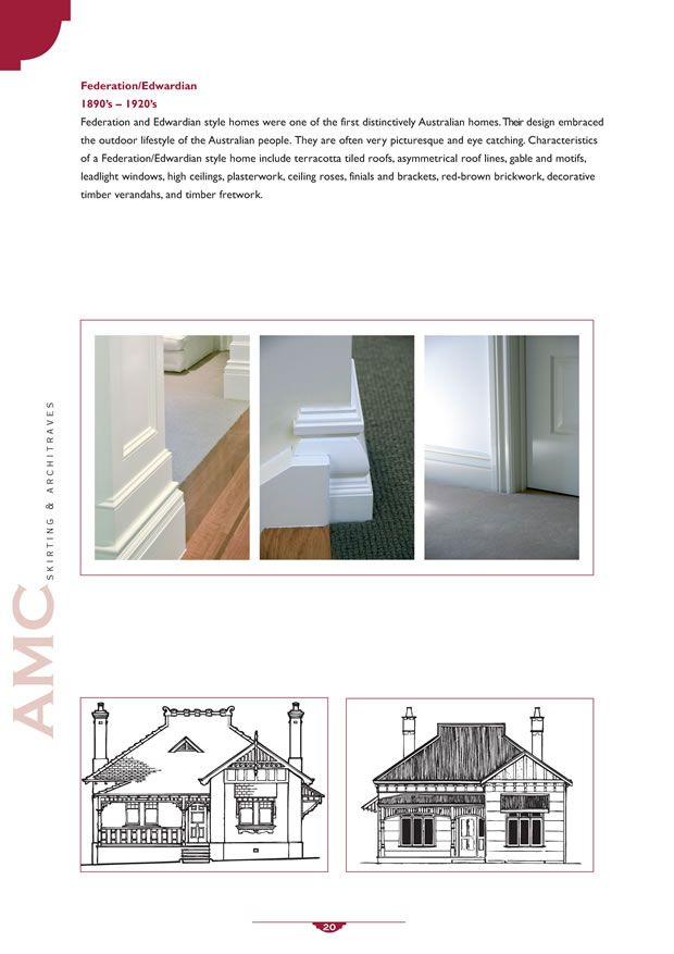Architraves, Edwardian Skirting, Timber Mouldings, Pre-Primed Federation Skirting ||Australian Moulding