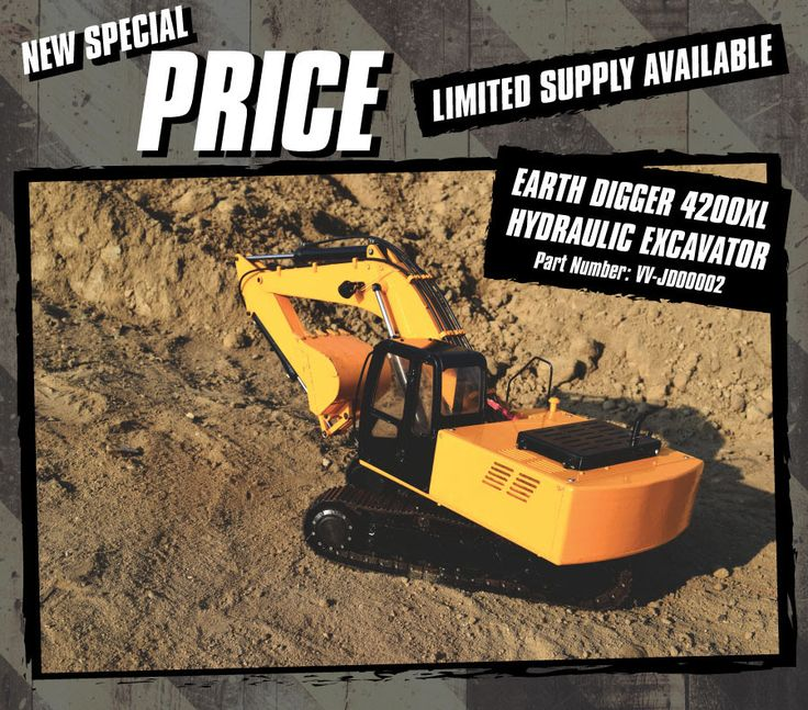 LIMITED TIME ONLY  New Special Price on the 1/12 Scale Earth Digger 4200XL Hydraulic Excavator (RTR) (Version 2.0)  Original Price: $1,792.99  NOW: $1550.00  Visit www.store.rc4wd.com for more details!!