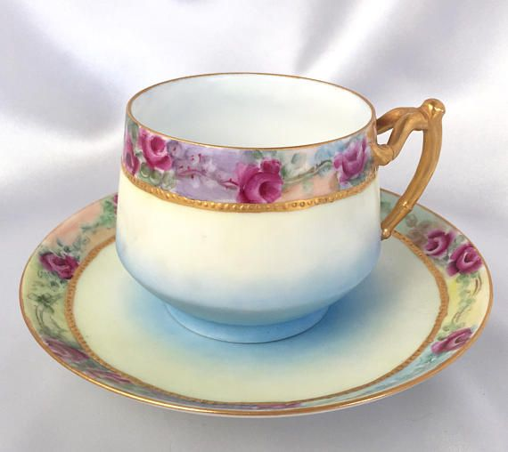 Antique AK Limoges France Floral Tea Cup and Saucer