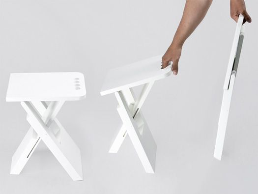 Collapses flat: Sgabo Folding Stool by Alessandro Di Prisco combines seating, carrying, and efficient storage in a simple, fold-flat unit wi...