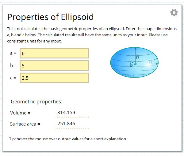 Calculate the geometric properties of an ellipsoid.