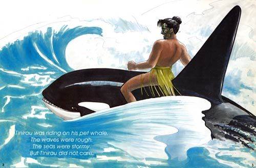 Spread from 'Tinirau and his whale' by Ron Bacon, published by Waiatarua Publishing Co Ltd, 1995. Illustration – Manu Smith