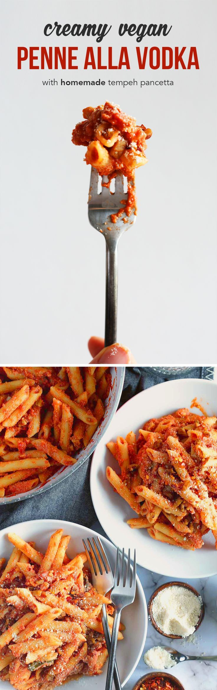 "This Vegan Penne alla Vodka is super creamy and packed with protein from the smoky tempeh ""pancetta."""