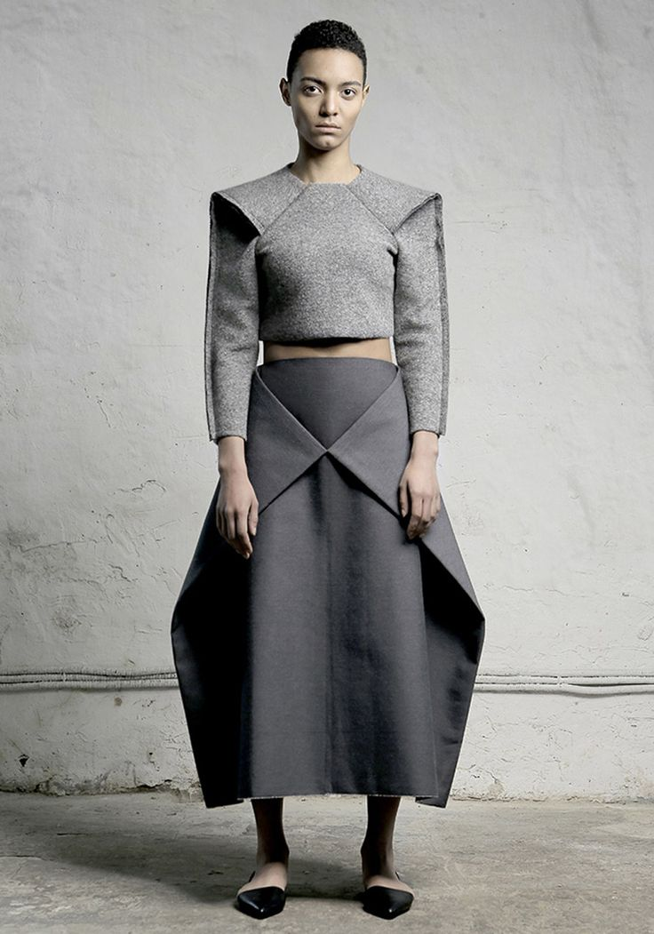 This is one of the few pieces I can see being manipulated slightly to be unisex. I really like the sleeves, it reminds me of a Cobra snake's head. Nihilism fashion collection by DZHUS