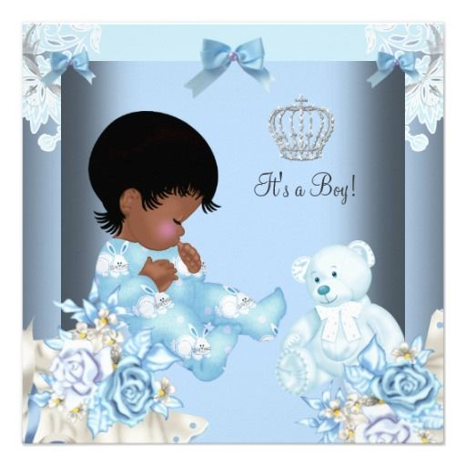 African American Vintage Prince Baby Shower Boy 2 Invites