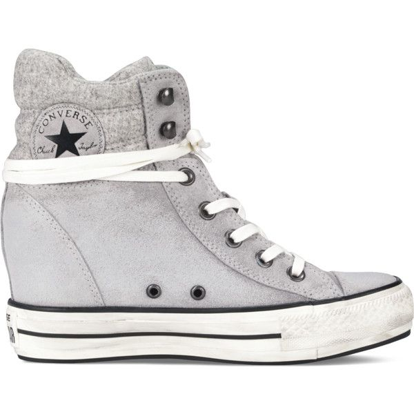 Converse Chuck Taylor Platform Plus Collar Sneakers (570 SEK) ❤ liked on Polyvore featuring shoes, sneakers, converse, grey, lucky stone, grey shoes, platform shoes, grey wedge sneakers, grey sneakers and wedge sneakers