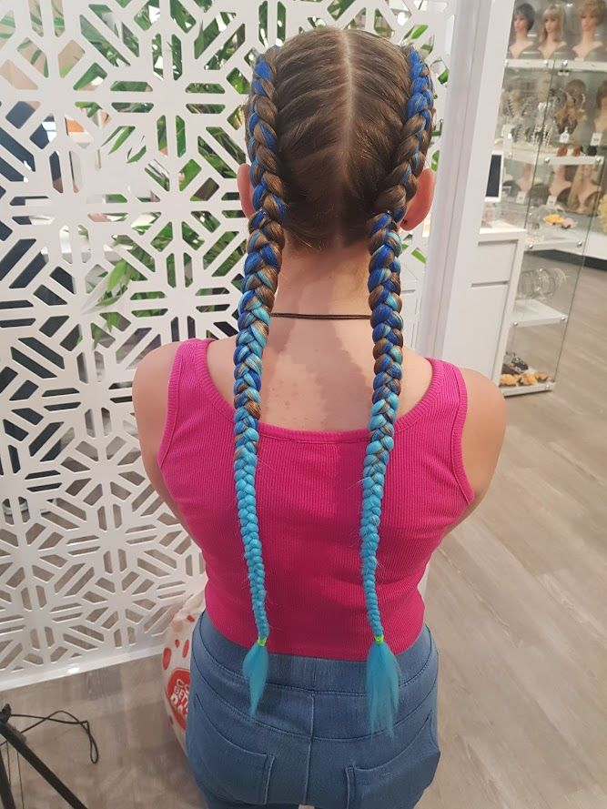 Blue Ombre Dutch Braids With Extensions Braids With Extensions