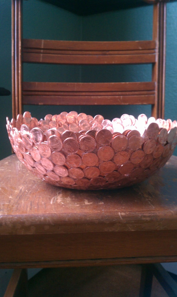 copper bowl made of pennies by unionstreetartifacts on Etsy. $200.00, via Etsy. I bet you can easily make this though!