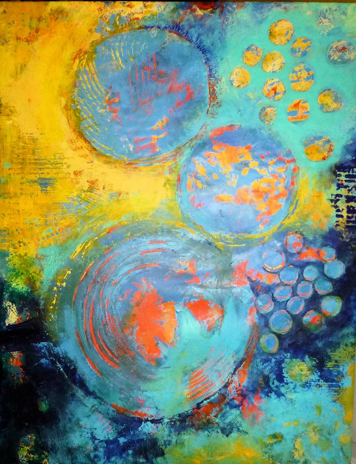 Abstract Acrylics 60x81 cm - title: NoName by Celina Schou