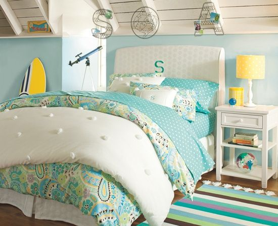 pom pom white on white coverlet | turquoise & yellow | Single Monogrammed Headboard