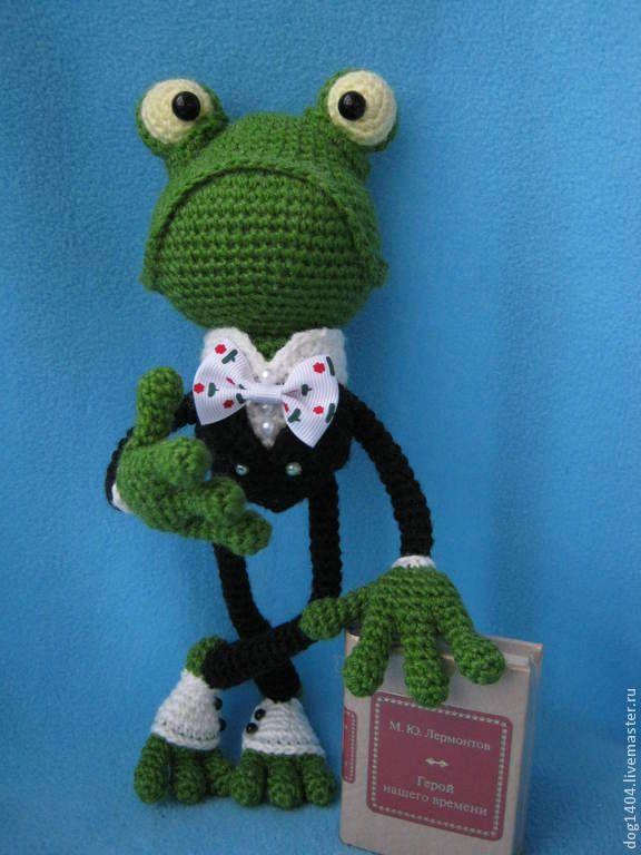 """Купить Мастер класс по вязанию игрушки """"Важный Квак"""" - лягушка, смешная игрушка, смешной подарок"""