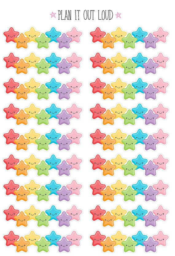 Star border stickers - great for use in the Erin Condren planner or any other planner! Stickers measure 1.5 x .4 inches. You will receive one sheet of 18 stickers. Stickers are printed with an inkjet printer removable sticker paper and die cut. **For custom orders please send me a