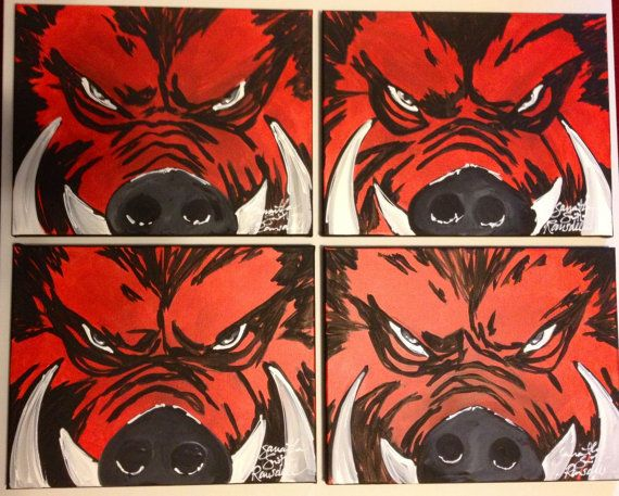Arkansas Razorback Painting. Razorback canvas. Tusk painting.Arkansas Hogs Artwork. Razorback Painting. Woo Pig Sooie artwork. Arkansas art.
