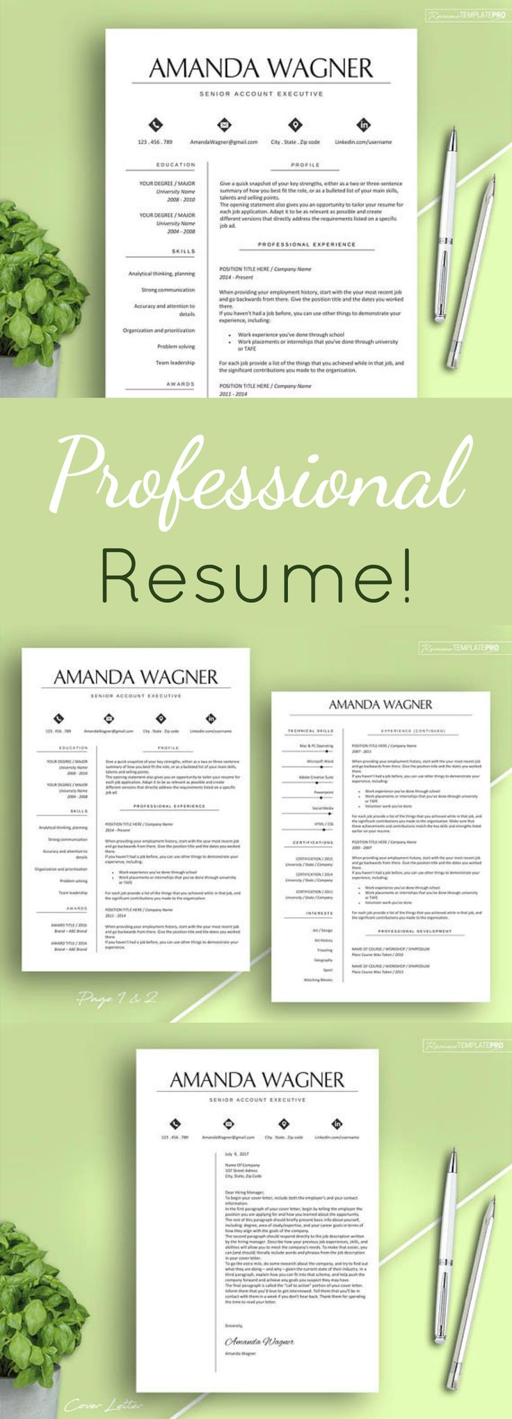 THIS resume will absolutely stand out! Propel your career ahead with it.  Resume Template, Modern Resume Template Word, CV Template for MS Word, Resume package with References, 3 pages Instant Download #ad