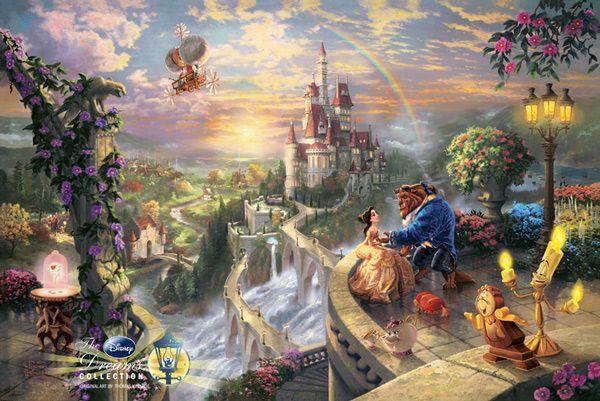 Thomas Kinkade + Beauty and the Beast = LOVE.