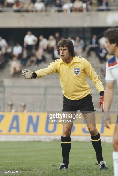 English professional footballer and goalkeeper with Liverpool Ray Clemence pictured in goal for the England national football team in the UEFA Euro...