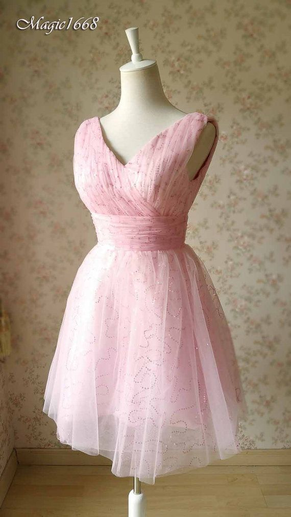 Cute Pink Princess Dress. Adult Tutu Dress. Short Princess Dress Party Dress. Bling-bling Mini Cocktail Dress. Bridesmaid Dress. Custom Size