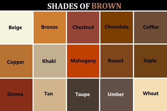Shades of brown Shades of orange colour chart
