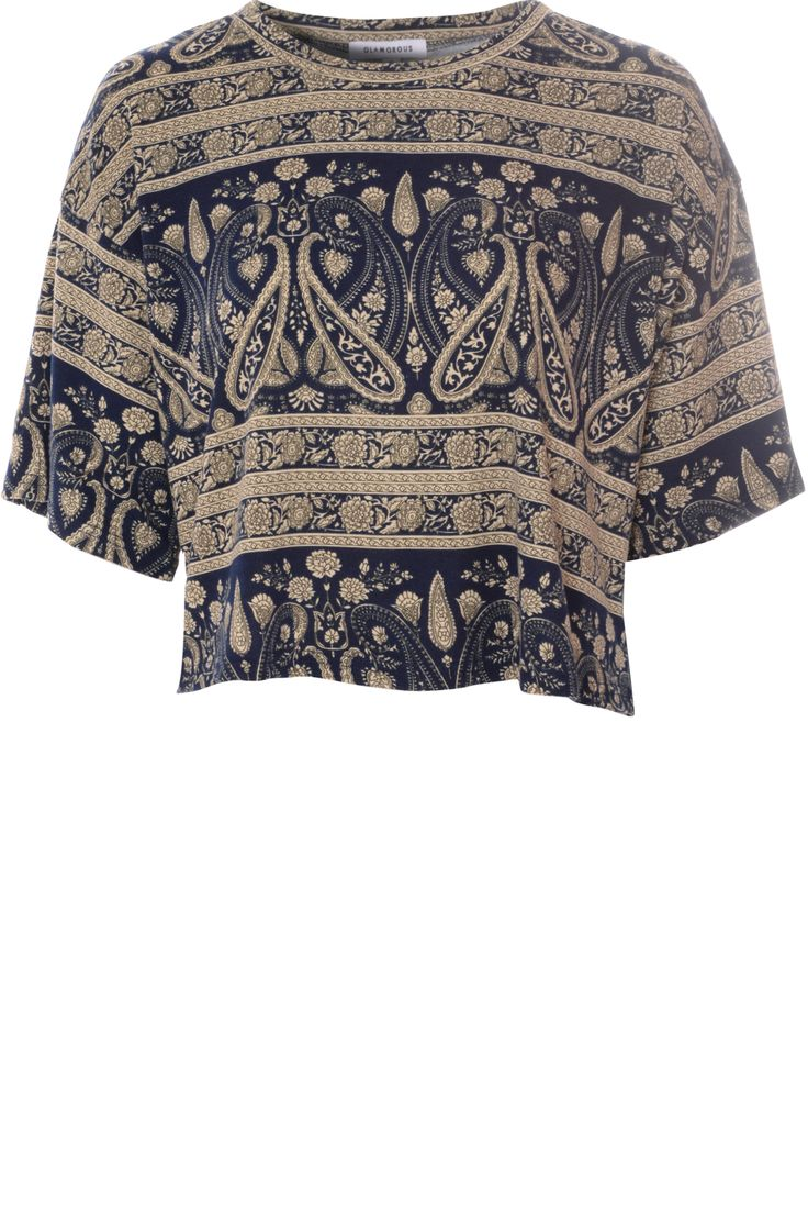 Navy Paisley Printed Short Sleeved T-Shirt on Glamorous